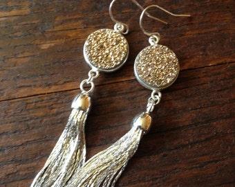 Sterling silver tassel earrings with gold druzys.