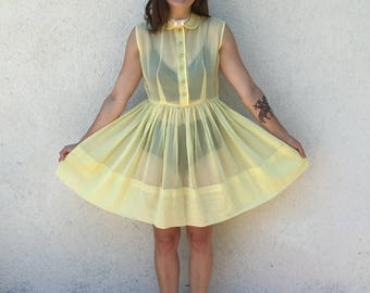 1950's Sheer Yellow Dress
