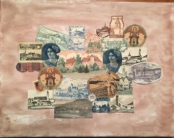 Unique Money Collage Art: Austrian Notgeld Paper money from the 1920s; framed
