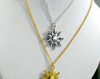 Sun shine Necklace, Sun Necklace,  Sun shine Pendant , Gold sunshine necklace,  silver sunshine necklace, gold & silver pendent
