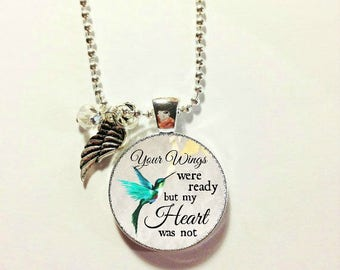 MEMORIAL CHARM..HUMMINGBIRD...Your wings were ready but my heart was not, in memory, loss of loved one