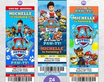 Paw Patrol Ticket Invitation, Paw Patrol Invitation with Photo, Paw Patrol Birthday Invitation, Paw Patrol Invitation, Paw Patrol Invites