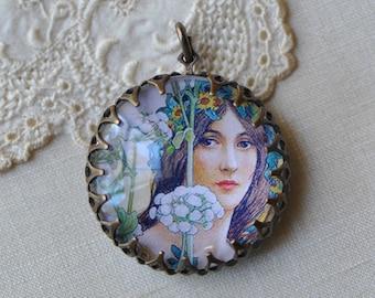Glass Portrait Pendant Art-Nouveau Woman with Flowers Portrait Antiqued Gold Toned Brass Crown Edge Setting 1 Piece
