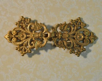 Ornate French Cape or Belt Buckle or Hook and EyeGold Toned Brass Die Casting 2 Pieces 173 - 4J