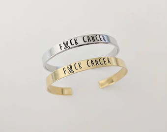 Fuck Cancer Bracelet // Cancer Awareness Bracelet Cuff + Charity Donation + Motivational Jewelry + Breast Cancer Gift + Cancer Survivor