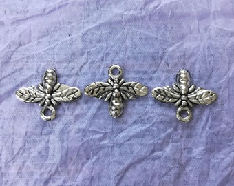 3 Wasp Charms - for Jewellery Making and Crafts - 3 x Tibetan Silver Wasp Charms