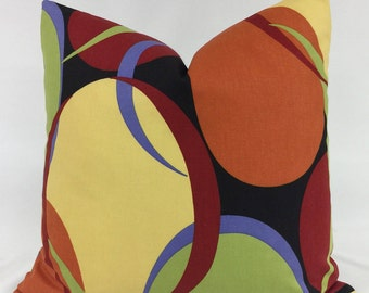 Pillow Cover - Modern - Abstract - Circle Design - Multi Colored - Lined - Zippered