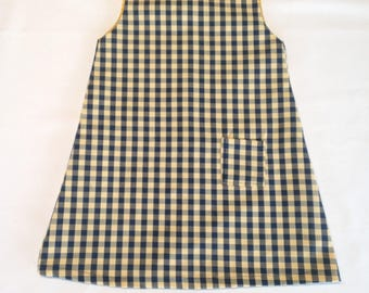 Dress sleeveless blue gingham with Pocket