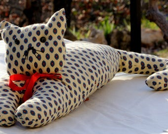 Cat cushion in Provence button eyes round Red Ribbon