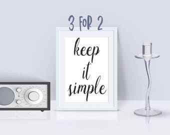 Alcoholics Anonymous print, AA Recovery print, 'keep it simple' Printable AA Slogan, 3 for 2, 12 step programs quote, motivational print OA