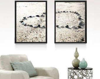 Print Set of 2 Heart Photography, Heart Prints, beach wall art, romantic art heart in sand, beach photo, beach art photo download