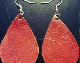 New!! Distressed Red Hand Cut Leather Earrings. Leather Tear Drop Earrings.