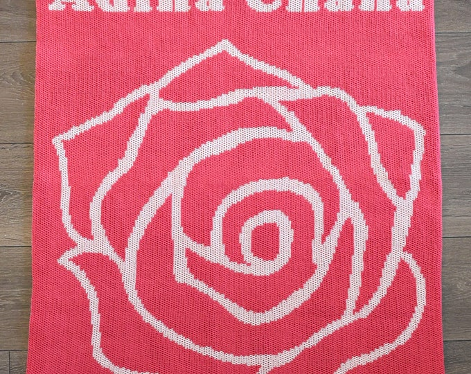Rose Custom Knit Baby & Stroller Blanket