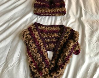 Matching Fuzzy Cowl and Hat Set