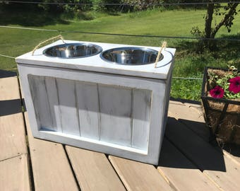 Raised Dog Bowl Stand with Storage Dog Bowls with Storage Dog Food Stand Dog Feeder with Storage Rustic Dog Stand Raised Rustic Dog Feeder