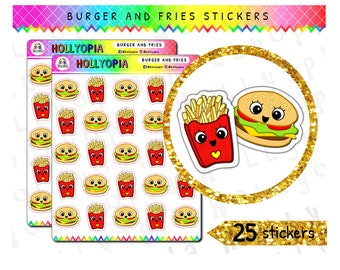 25 Cute Burger and Fries Planner Stickers, Fast Food, Perfect for your Happy Planner, Erin Condren, Filofax, TN etc, UK