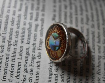 Steampunk gear mother-of-Pearl ring