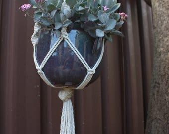 Handmade cotton macrame hanging basket