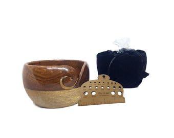 Free Knitting Gauge & Velvet bag with Mango sheesham wood yarn bowl