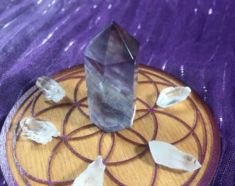 Fluorite, and Lemurian Quartz Crystal Grid / Stress Reduction / Peaceful Thoughts / Balancing Grid + Reiki Charged