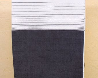 Plaid blanket degraded in pure handloom cotton fabric black and white striped 206 267cm x