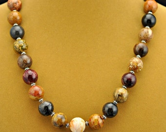 Multi-color 16mm Petrified Palmwood  .925 Silver Necklace/Earring Set #2