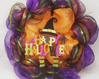 Halloween Wreath, Halloween Decoration, DecoMesh Wreath, Halloween Door Decor, Halloween Decor, Holiday Decor, Witch Wreath, Halloween Decor