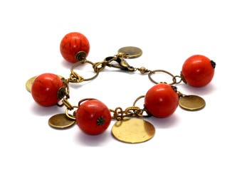 Orange Howlite and Brass Bracelet with Brass coins