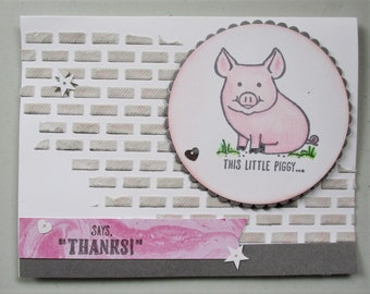 Thank you card, any occasion card,  love you card, piggy card, encouragement card