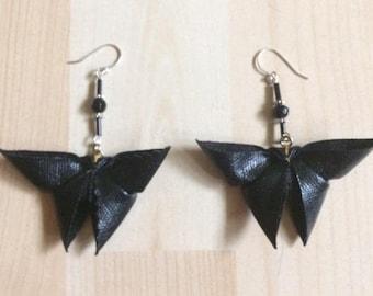 Earrings with origami butterflies