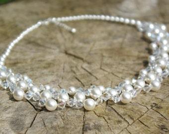 Swarovski Pearl and Crystal Necklace Swarovski Choker Necklace Pearl Necklace Wedding  Bridal Bridesmaid Pearl Necklace