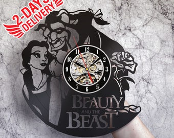Beauty and the beast art, Wall clock, Beauty and the beast wedding gift Beauty and the beast rose, Beauty and the beast nursery, Belle party