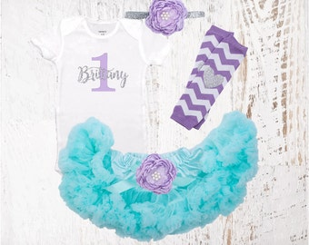 1st Birthday Outfit Lavender Aqua & Silver Girl One Tutu Pettiskirt Outfit Cake Smash Shirt Onesie Bodysuit Headband Necklace Leg Warmers
