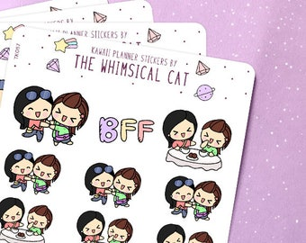 TK057 | BFF Planner Stickers, Best Friends Forever Stickers, Friends Stickers, Besties Planner Stickers, Kawaii BFF Stickers