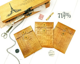 Mini Envelope Set / String Tie envelopes / Button closure envelopes / Snail Mail envelopes / Junk journal envelopes / Leather envelope (II)