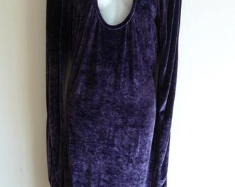 Chantal Thomass dark purple stretch velvet slinky dress with peep-hole
