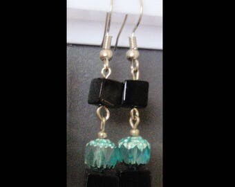 glass vintage art deco  style earrings hook back