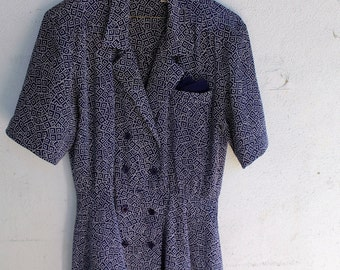 Vintage 1980s Drop Waist Liz Claiborene navy blue & white Dress-Used