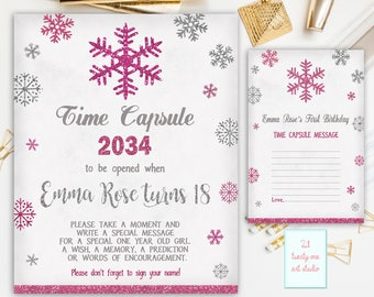 Winter Time Capsule Sign, First Birthday Time Capsule, Snowflakes Time Capsule + Matching Note Cards, Printable Personalized