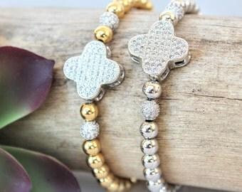 Gold or Silver Four Leaf Clover Charm Bracelets with CZ Diamonds, 14K Gold Plated & Platinum Plated Metal Ball Beads, Cloverleaf bracelets