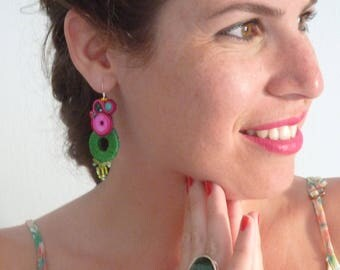 Green and pink earrings beautiful made-to-order