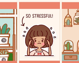 Cute Stressed Stickers, Kawaii stress out stickers, Kawaii girl stickers, Kawaii girl stickers, Stressed out stickers (LOLA042)