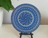 Blue Mandala Art Painting - Dot Painted Wood - Hand-Painted Meditation Mandala Rock - Home Decor - Chakra Painting - Meditation Art