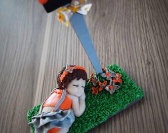 Baby Locket little nature girl orange and gray