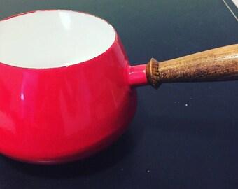 SALE! Vintage Mid Century Mod Red Enamel Sauce Pot w/ Wood Handle