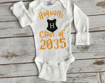 Hogwarts Class of 2035 Harry Potter Onesie Hogwarts Onesie Custom Onesie Hogwarts Shirt Personalized Shirt Potter Shirt Baby Shower Gift