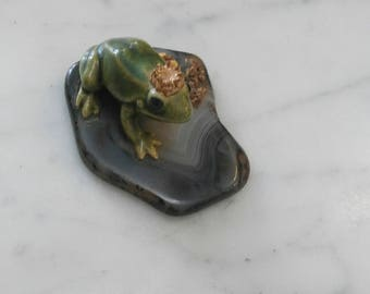Small Porcelain Frog Prince on Stone