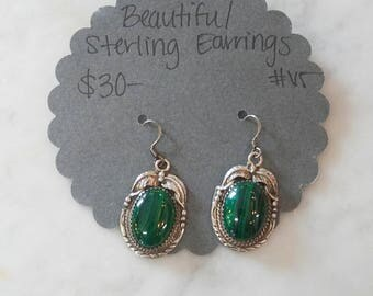 Sterling Silver Malachite Drop Earrings