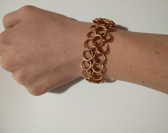 copper chain mail bracelet