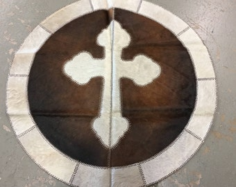 40 Inch Cowhide Cross Patchwork Area Round Rug | FREE SHIPPING